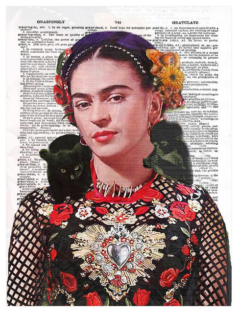 Art N Wordz Frida Kahlo Nature Original Dictionary Sheet Pop, Art Print.