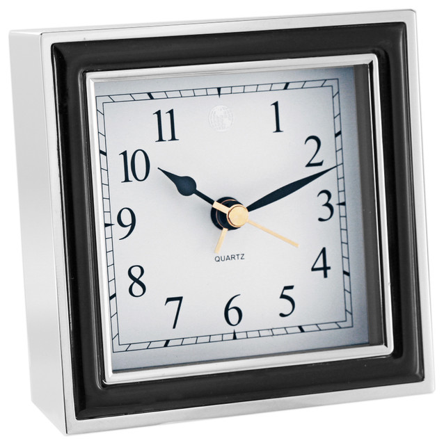 Alarm Clock Black Enamel And Silver Contemporary