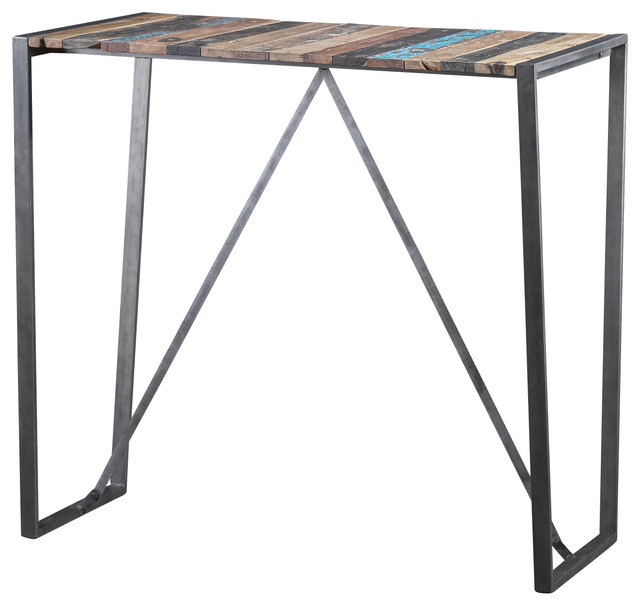 Recycled Boat Wood Balmy Bar Table Rustic Console Tables