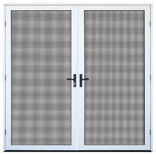 White recessed mount double aluminum meshtec security screen door 64 39 39 x8 39 39 modern screen - Meshtec screen door ...