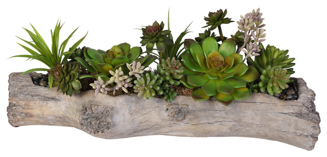 Artificial Succulents With Natural Rocks In Stone Log