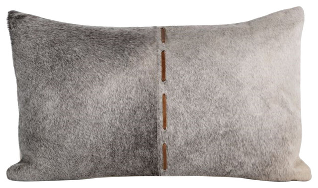 """""""Aman"""" 20"""" x 12"""" Leather Patchwork Throw Pillow, Fur Coated"""