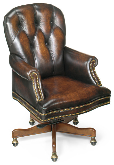 Seven Seas Distressed Brown Genuine Leather Swivel Office Chair