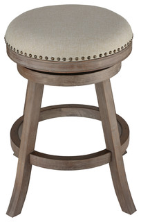 Cortesi Home Sadie Backless Swivel Counter Stool, Solid Wood and Beige Fabric