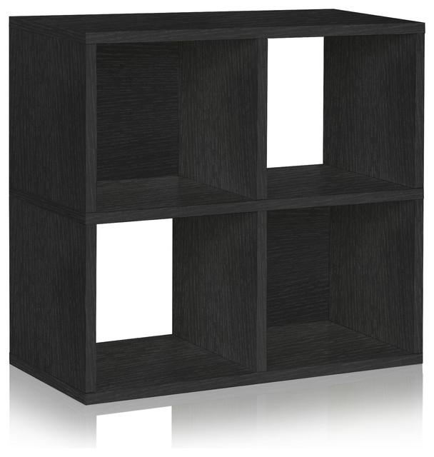 2-Tier 4 Cubby Stackable Bookcase Storage Shelf, Tool Free Eco zBoard, Black