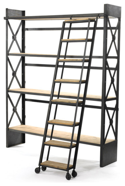 Loft Bookcase With Ladder industrial-bookcases - Loft Bookcase With Ladder - Industrial - Bookcases - By Furniture