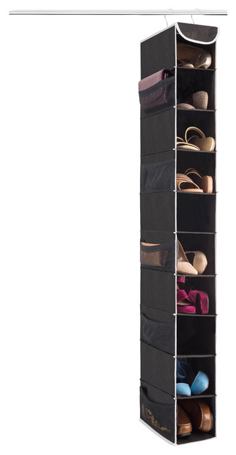 10-Shelf Hanging Shoe Organizer With 10 Mesh Pockets