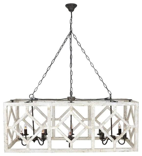 Myrtle 10 Light Rectangular Wood Pendant White Black 18 X48 X19