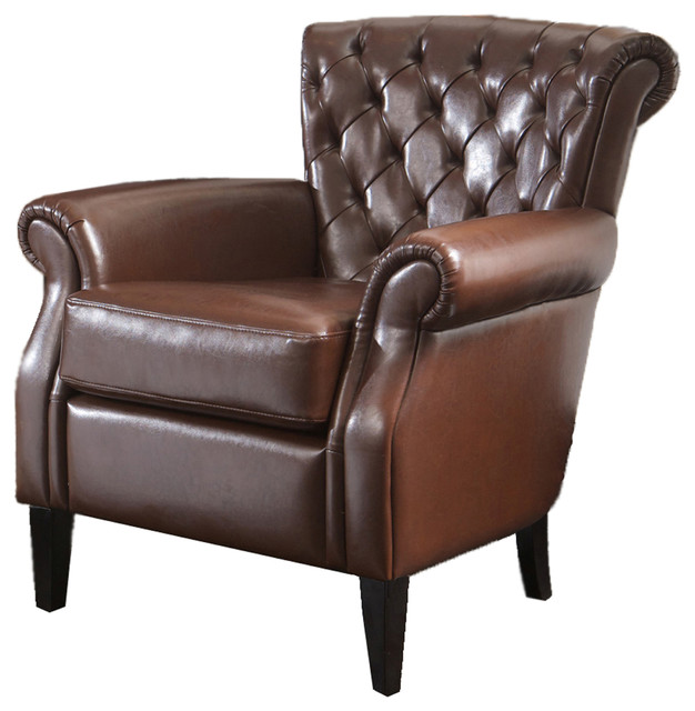Tufted Leather Club Chair, Brown Traditional Armchairs And Accent Chairs
