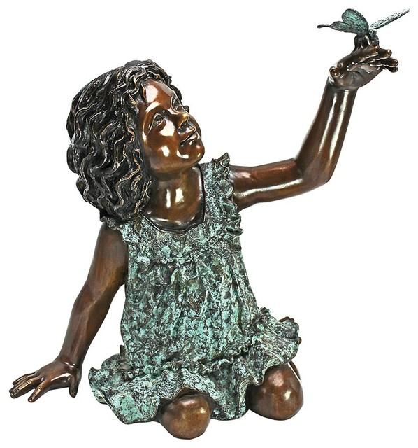 Butterfly Wonder Little Girl Cast Bronze Garden Statue