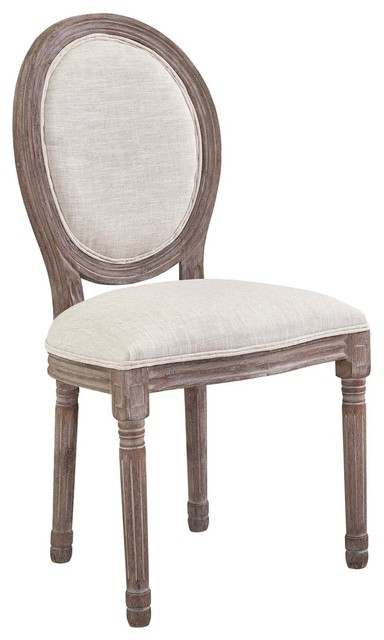 Emanate Vintage French Upholstered Fabric Dining Side Chair, Beige