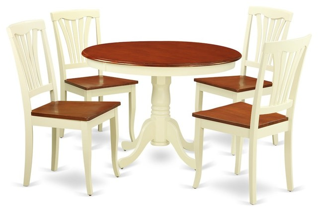 5-Piece Set With a Round Dinette Table and 4 Leather Kitchen Chairs
