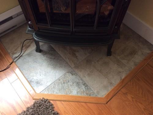 Tiles under woodstove