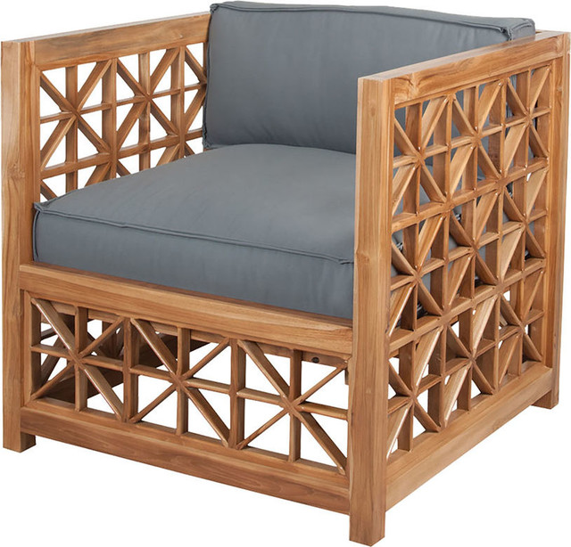 Teak Lattice Chair In Euro Oil Transitional Outdoor Lounge Chairs By Lighting Jungle