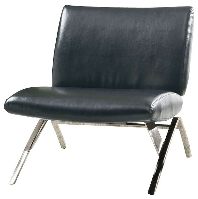 Swell Accent Chair Black Leather Look Chrome Metal Machost Co Dining Chair Design Ideas Machostcouk