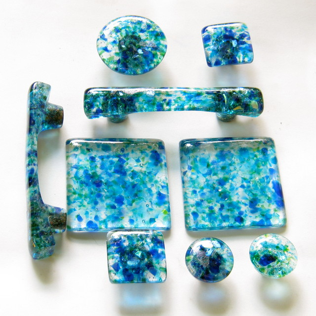 Handmade glass knobs, pulls, tiles and handles in a custom blend of ...