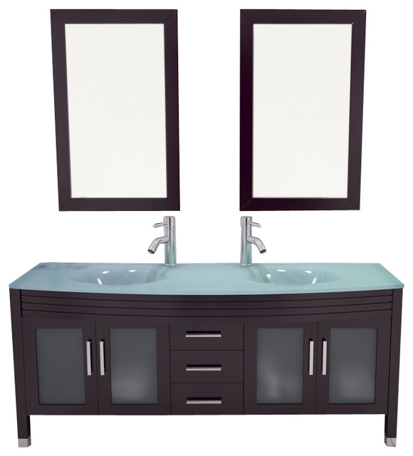 63 grand regent large double sink modern bathroom vanity cabinet with glass top contemporary for Contemporary bathroom sinks and vanities
