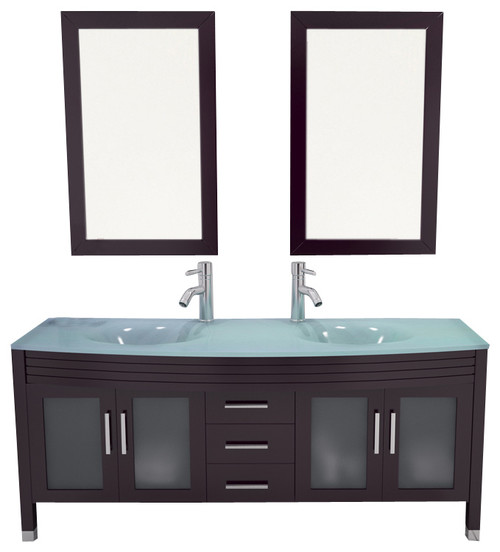 """63"""" Grand Regent Large Double Sink Modern Bathroom Vanity Cabinet With Glass Top"""