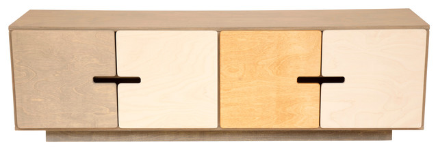 PIX TV Stand, Pebble Grey, White and Oak