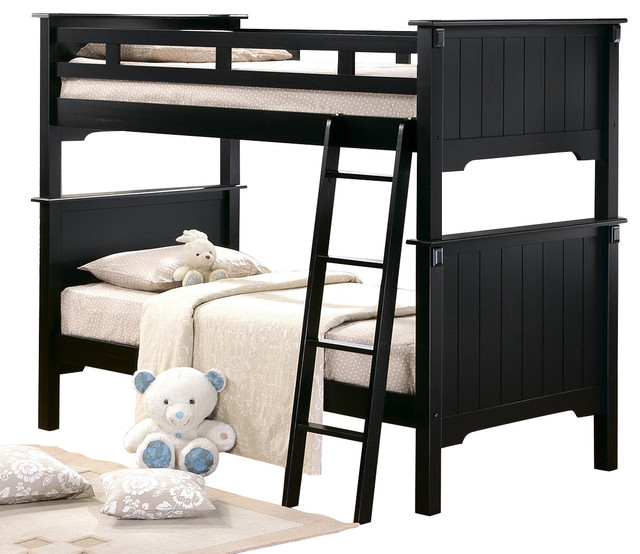 Homelegance Pottery Full Bunk Bed In Black Traditional