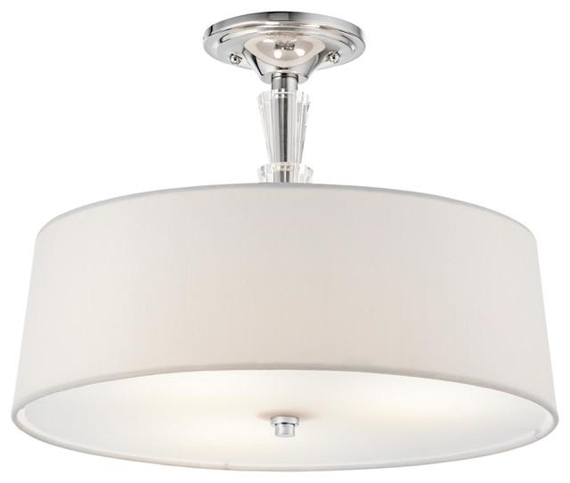 3-Light Standard Bulb Semi Flush Mount, Chrome.