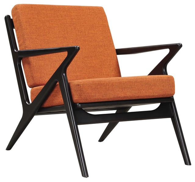 Burnt Orange Zain Chair Black Finish