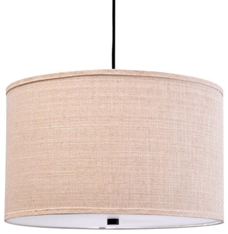 Catalina 3 Light 18 Beige Fabric Pendant Bronze