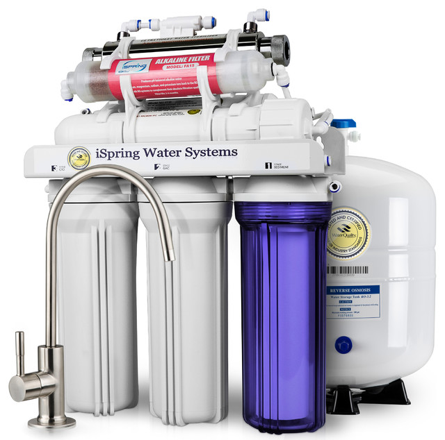 Ispring 7 Stage 75 Gpd Uv Alkaline Osmosis Water System Ro