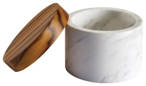 White Marble Salt Cellar With Teak Wood Lid  sc 1 st  Houzz & White Marble Salt Cellar With Teak Wood Lid - Transitional - Salt ...