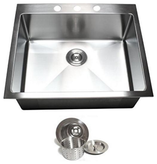 Top Mount Drop-In 304 Stainless Steel Single Bowl Kitchen Sink ...