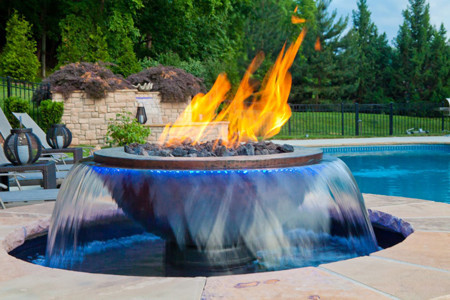 Evolution 360 Water Fountain And Fire Feature Hammered