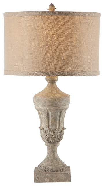 Kathy Kuo Home French Country Fluted Urn Burlap Shade Lamp