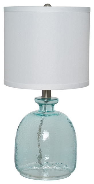 Catalina Lighting Penny Ocean Blue Glass Table Lamp With Linen Shade.