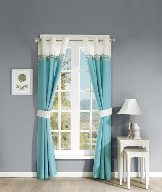 Madison Park Tara Cotton Embroidered 63 Inch Curtain Panel Pair