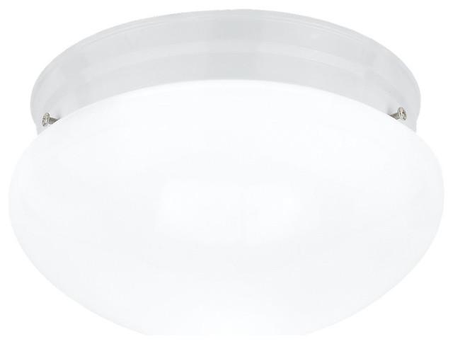 1-Light Ceiling Flush Mount, White.