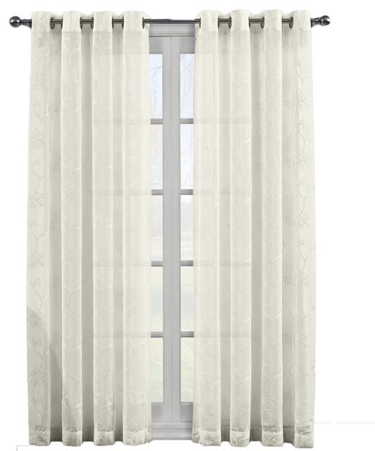 """Andora Embroidered Grommet Top Sheer Panels, Set Of 2, Beige, 108""""x84""""."""