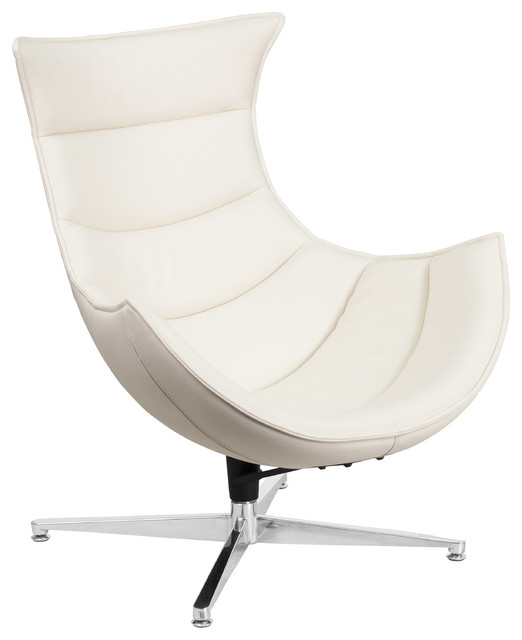 Peggy Leather Swivel Cocoon Chair Contemporary
