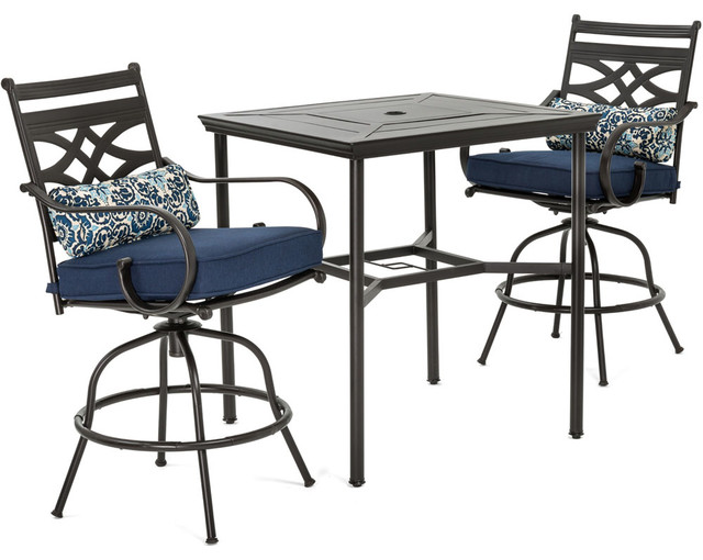 Montclair 3 Piece High Dining Set With Rockers And Square Table, Navy