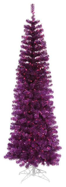 Pre Lit Artificial Pencil Tinsel Christmas Tree Purple Lights 9