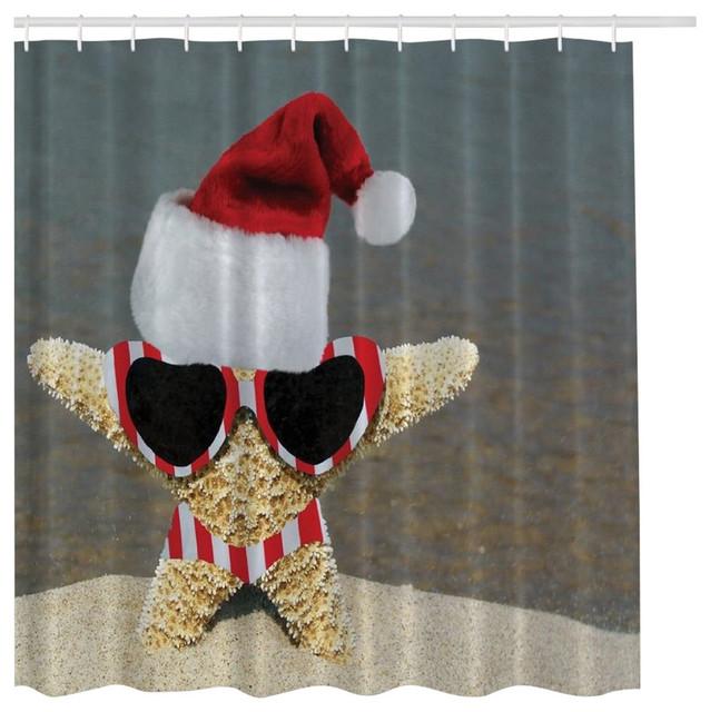 MoreThanCurtains - Holiday Beach Starfish Santa Christmas Fabric ...