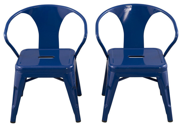 Kids Chairs By Reservation Seating, Navy, Set Of 2 Industrial Kids Chairs