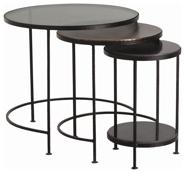 Yardley Nesting Tables, Set Of 3 Industrial Coffee Table Sets