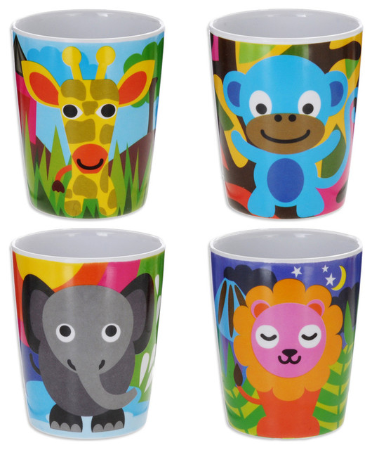 Jungle Kids Juice Cup Set Contemporary Baby Cups And