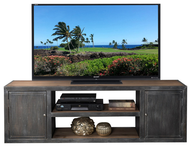 Bayview Antique Black And Silver Firwood Tv Stand Rustic