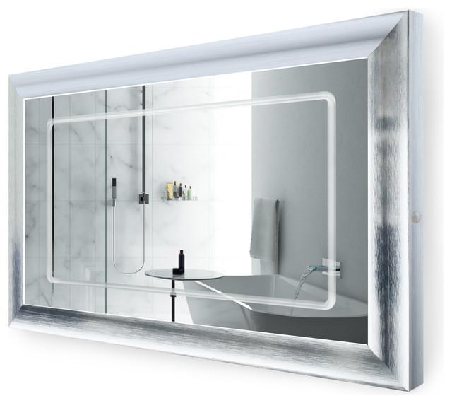 Led Lighted Silver Frame Bathroom