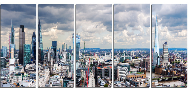 """city Of London Cityscape"" Photo Glossy Metal Wall Art, 5 Panels, 60""x28""."