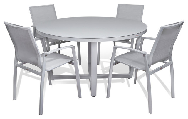 Frosted Gl Round Dining 5 Piece Set