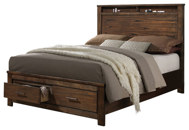 Merrilee Storage Bed, Oak, Queen.