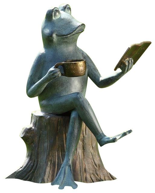 Frog Joy Of Reading Garden Sculpture Eclectic Garden Statues And Yard