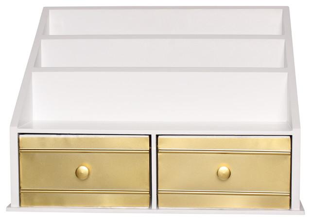 Industrious Desktop File Folder Organizer White Gold